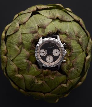 Chronographe Daytona «Paul Newman», mouvement mécanique à remontage manuel, en acier, vers 1967, Rolex. Est. 100.000-150.000€.