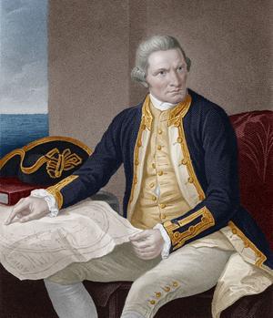 James Cook (1728-1779), capitaine de la Royal Navy et explorateur, réalise trois expéditions pour la Couronne britannique.