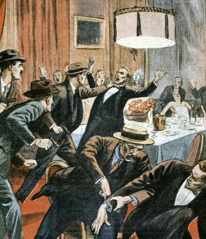 Illustration du «Petit Journal» figurant l'arrestation du directeur du Crédit municipal de Bayonne Gustave Tissier à Bayonne en 1933, homme de paille d'Alexandre Stavisky.