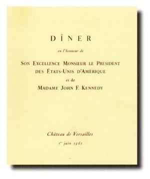 Détails du menu du dîner donné en l'honneur du président Kennedy.