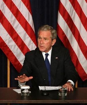 George W. Bush parle d'axe du mal.