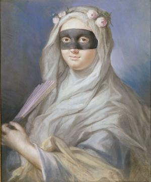 <i>Femme aumasque,</i> attribué àLorenzo Tiepolo, vers 1760.