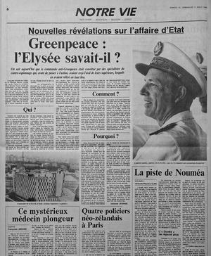 Page du Figaro daté du 10-11 août 1985: révélation de la participation d'agents des services secrets français au sabotage du Rainbow Warrior de Greenpeace le 10 juillet 1985.