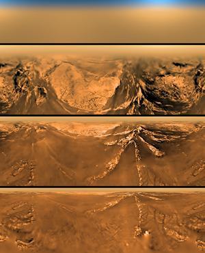 Vues prises par la sonde Huygens lors de sa descente vers la surface de Titan, le 14 janvier 2005.