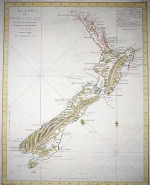 Carte de la Nouvelle-Zélande réalisée par le navigateur et l'explorateur britannique James Cook.