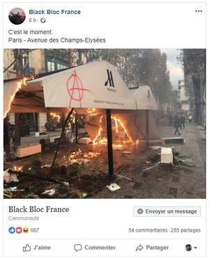 La page «Black Bloc France» sur Facebook
