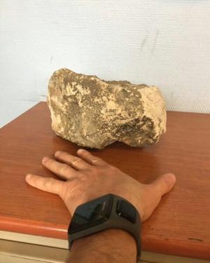 La pierre qui a blessé le fonctionnaire de police.