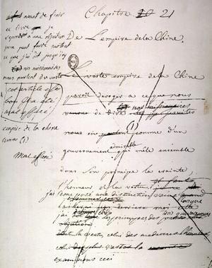 Page manuscrite de l'ouvrage de Montesquieu intitulé «De l' Esprit des Lois» paru en 1748.