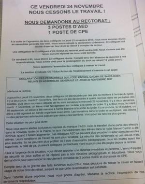 Document diffusé vendredi par section syndicale CGT Educ'Action.
