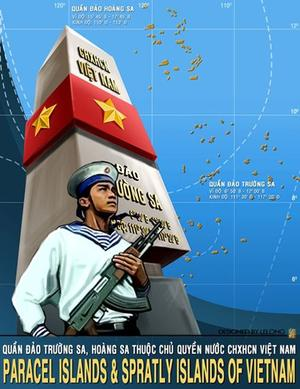 Affiche vietnamienne revendiquant la souveraineté sur les îlots situés au large de ses côtes, en Mer de Chine.