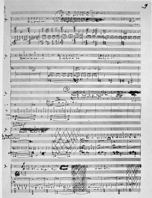 Page manuscrite de Claude Debussy, opéra «Pelléas et Mélisande».