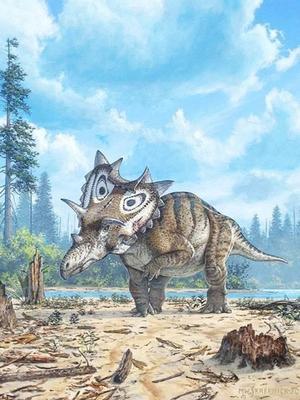 Vue d'artiste de Spiclypeus shipporum, découvert dans le Montana.
