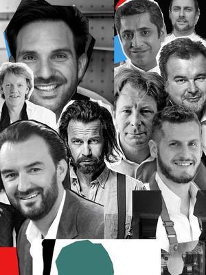 Dans le sens des aiguilles d'une montre en partant du haut à gauche: Christophe Michalak, Sylvestre Wahid, Sébastien Gaudard, Pierre Hermé, Yann Couvreur, Jacques Genin, Laurent Favre Mot, Cyril Lignac et Gilles Marchal.