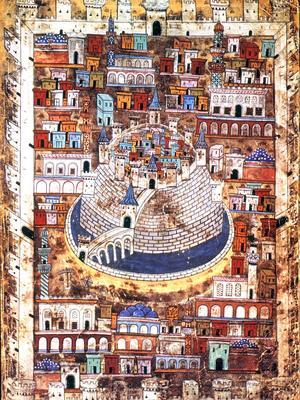 Enluminure représentant Alep datant du XVIe siècle.