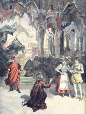 Des comédiens lors d'une représentation au Théâtre du Chatelet en 1896.