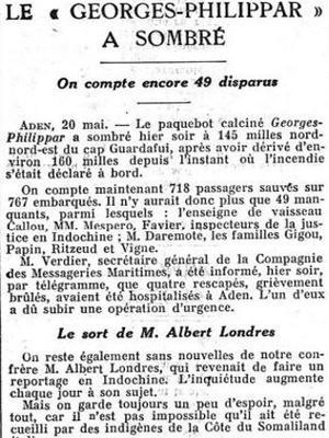 Le 21 mai 1932 «Le Figaro» garde encore l'espoir de retrouver Albert Londres.