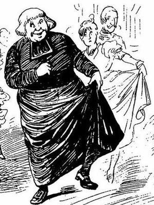 La môme Crevette fait danser le curé. Illustration «Le Journal amusant» du 4 février 1899.