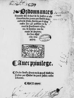 L'ordonnance de Villers-Cotterêts signée par François Ier en 1539.