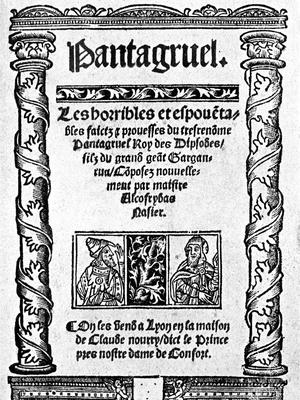 Frontispice de la première édition de «Pantagruel» de François Rabelais, 1532.
