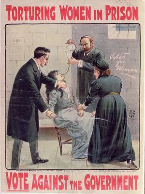 Une affiche diffusée en 1913 par les sufragettes contre l'alimentation forcée des grévistes de la faim, clamant: «Torture des femmes en prison - Votez contre le gouvernement»