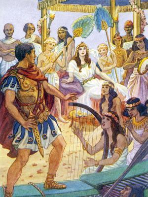 Cléopâtre, reine d'Egypte reçoit Antoine sur son luxueux bateau.