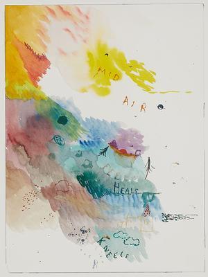 Friedrich Kunath, «Mid Air», 2018. Aquarelle, encre sur papier, 30,5 x 22,9 cm. Courtesy de l'artiste & VHN Gallery © Diane Arques