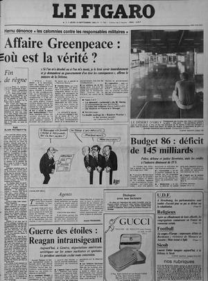 Une du Figaro du 19 septembre 1985. Le ministre de la Défense Charles Hernu dément toute participation d'un des services dépendant de son ministère dans l'attentat du Rainbow Warrior.