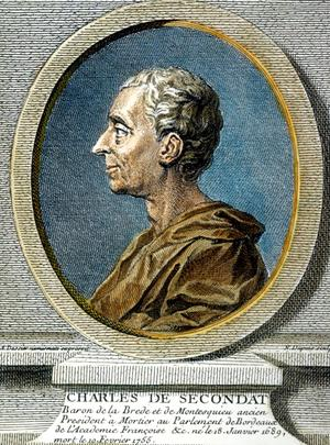 Gravure de Charles-Louis de Secondat dit Montesquieu, écrivain, philosophe, voyageur.