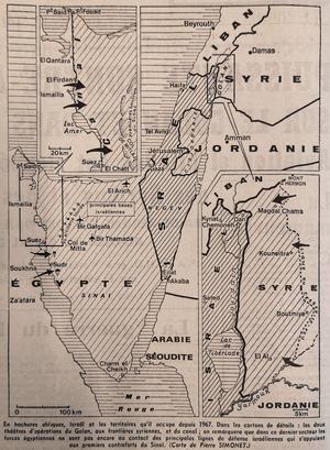 Guerre du Kippour: carte parue dans Le Figaro du 8 octobre 1973. En hachures obliques Israël et les territoires qu'il occupe depuis 1967. Dans les cartons de détails: les deux théâtres d'opérations du Golan, aux frontières syriennes, et au canal de Suez.