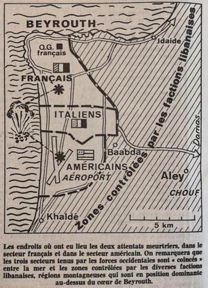 Carte parue dans Le Figaro du 24 octobre 1983, figurant les lieux du double attentat commis la veille.