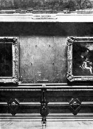 Emplacement occupé par la «Joconde» dans le Salon Carré du musée du Louvre avant son vol le 21 août 1911.