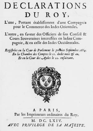 Frontispice de la «Déclarations du roi sur la Compagnie des Indes», datant de septembre 1664.