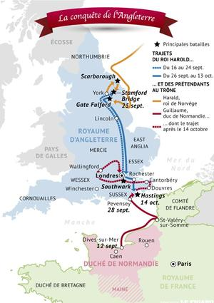 La conquête de l'Angleterre en 1066, à la mort du roi Édouard le Confesseur.