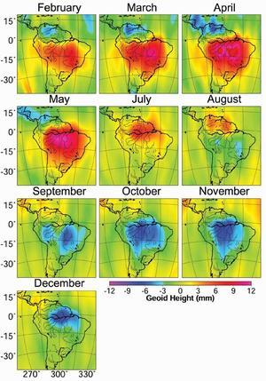 L'alternance entre saison sèche et saison humide dans le bassin de l'Amazone mesurée par gravimétrie par la mission GRACE.