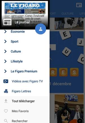 Capture d'écran du menu de l'application Android du Figaro.fr