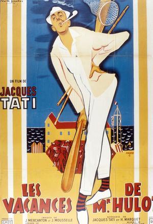 Affiche réalisée par René Peron pour le film «Les vacances de Mr Hulot» de Jacques Tati avec Jacques Tati en 1953.