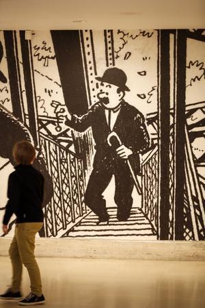 Dupont et Dupond àlatour Eiffel (extraitdel'album <i>LeTemple du Soleil</i>), enseconds rôles del'exposition «Hergé», auGrand Palais (VIIIe).