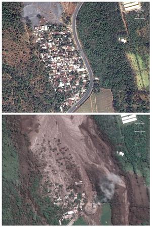 La zone détruite par la lave est clairement visible sur les photos satellite.