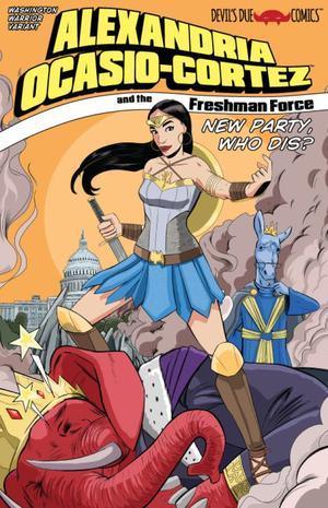Alexandria Ocasio-Cortez en Wonder Woman sur la couverture du nouveau comics book.
