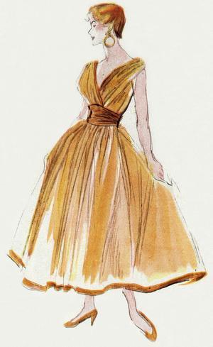 Jacques Fath 1952: dessin d'une robe en tulle de nylon orange, corsage croisé, une jupe large bordée d'un ruban de satin, ceinture drapée en satin.