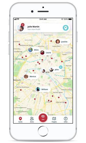 L'application est construite autour d'un plan de l'endroit où vous vous situez.