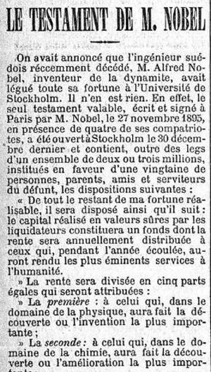 Extrait de l'article du Figaro du 7 janvier 1897 sur le testament d'Alfred Nobel.