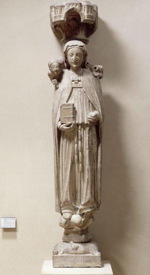 Sainte Geneviève accompagnée d'un ange tenant un cierge et d'un diable tenant un soufflet, premier quart du XIIIe siècle (Paris, musée du Louvre). Cette sculpture ornait le trumeau du portail central de l'église de l'abbaye Sainte-Geneviève, fondée par Clovis en 502.