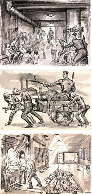 David Olère réalise entre 1945 et 1962, une série de dessins pour témoigner de la réalité des chambres à gaz et du fonctionnement des fours crématoires. Ces dessins constituent une source documentaire de première importance