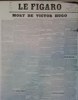 Le Figaro annonce en Une du 23 mai 1885 la mort de Victor Hugo.