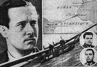 L'arrêt des pointillés sur la carte montre l'endroit où a été lancé le dernier message de 'La Croix du Sud'. En médaillon: Pichodon le second pilote et Lavidalie, le mécanicien. (Illustration parue dans Le Figaro du 9 décembre 1936).