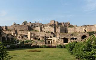 Vue du fort de la cité de Golconde, à l'ouest d'Hyderabad, en Inde, où ont été découverts les plus beaux diamants