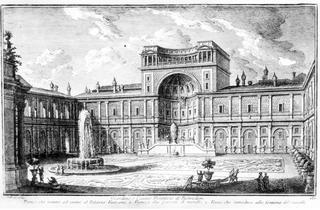 La cour du Belvédère à Rome.