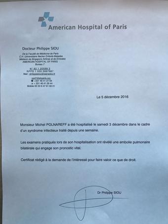 Certificat médical de l'Hôpital américain.