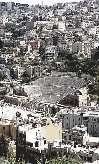 Amman, vue du théâtre romain depuis la citadelle. Photo: Valérie Sasportas